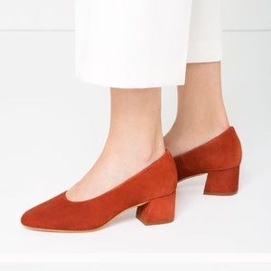 Zara rustic orange block heels